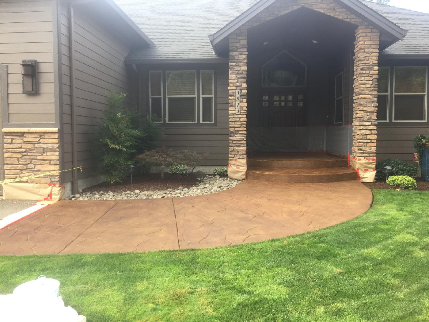 stamped, stained, concrete, sealer